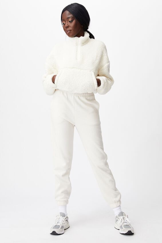 Qtr Zip Teddy Fleece, IVORY