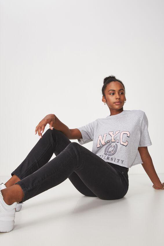 Short Sleeve Raw Edge Crop T Shirt, GREY MARLE_NYC UN