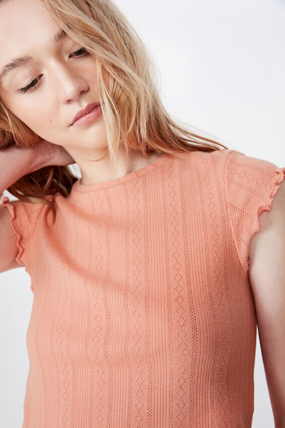 Short Sleeve Pointelle Top, BURNT CORAL