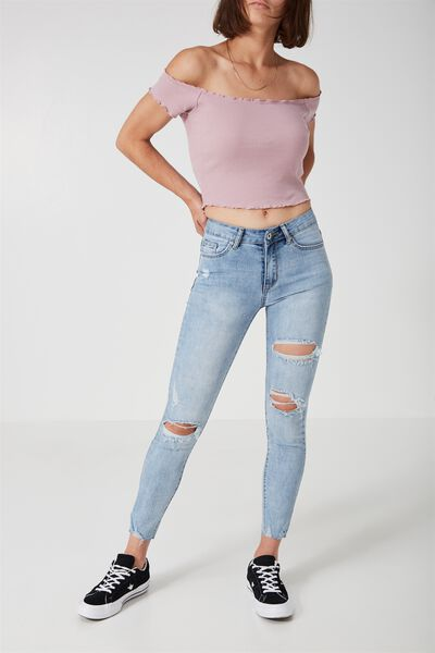 The Mid-Rise Skinny Jean, MID WEST BLUE_CROP WORN