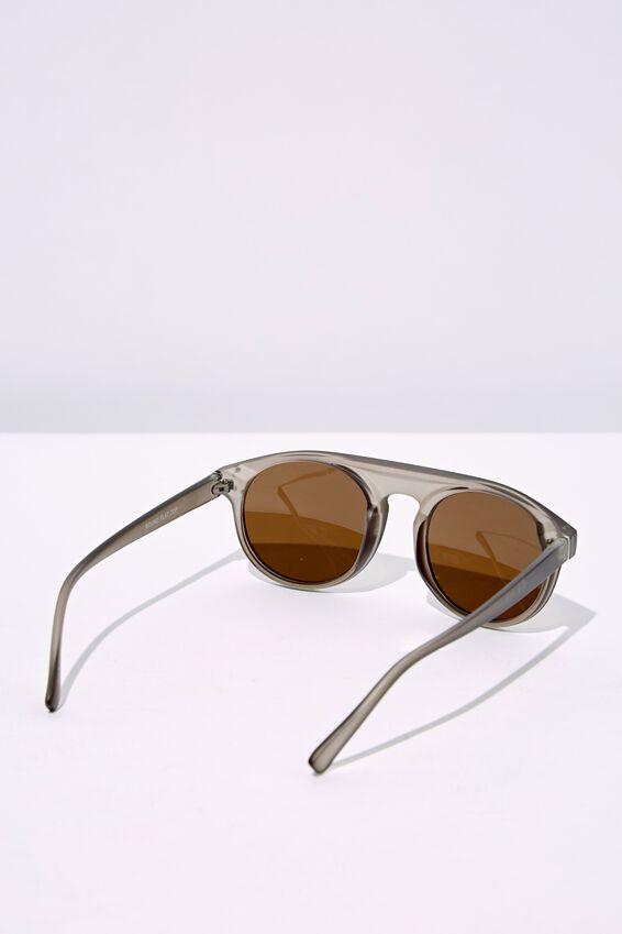 Round Flat Top Sunglasses, RUB CRY ELEP_BRN