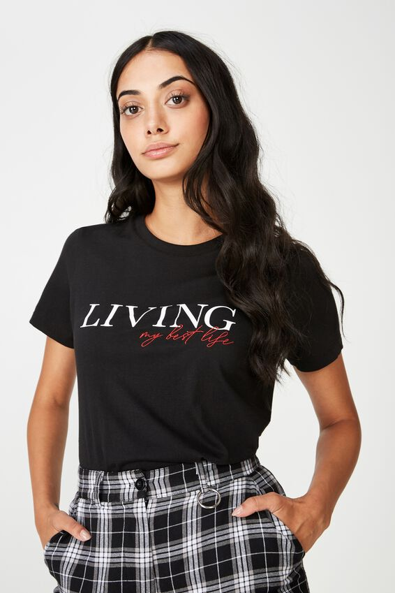 Basic Graphic T Shirt, BLACK_LIVING MY BEST