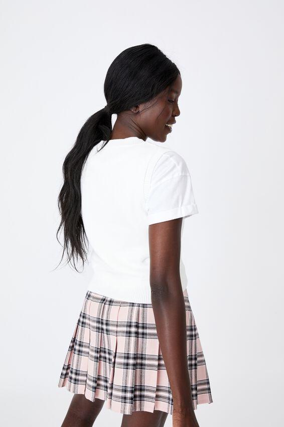 Cropped Knit Vest, WHITE