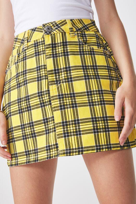 Co-Ord Denim Skirt, YELLOW CHECK