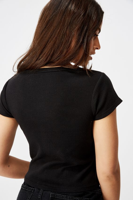 Snap Thru Rib Henley, BLACK