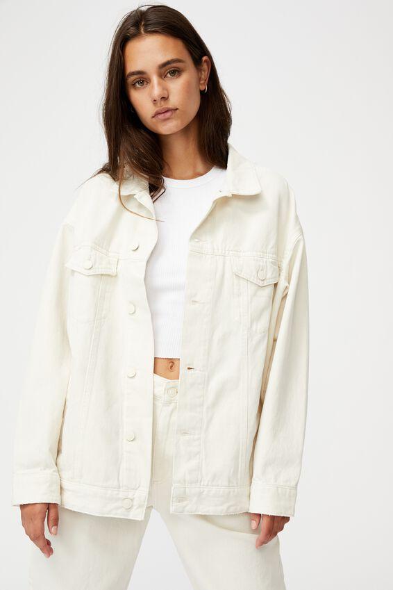 Oversized Denim Jacket, ECRU