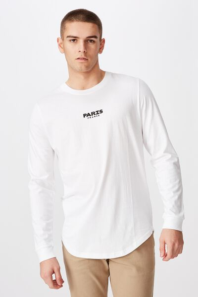 Curved Long Sleeve Graphic T Shirt, WHITE/PARIS