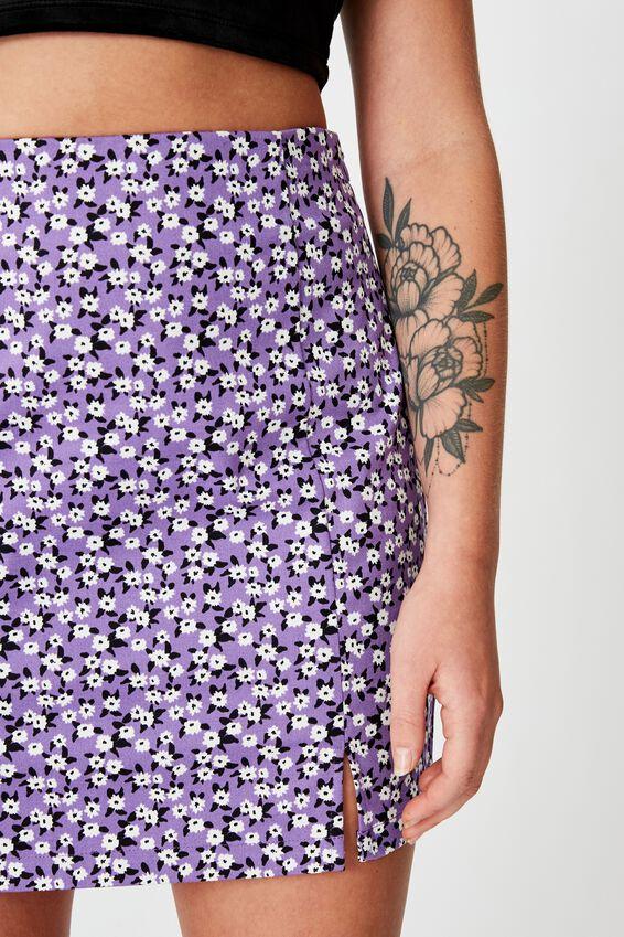 Double Split Mini Skirt, JAYDA PURPLE DITSY