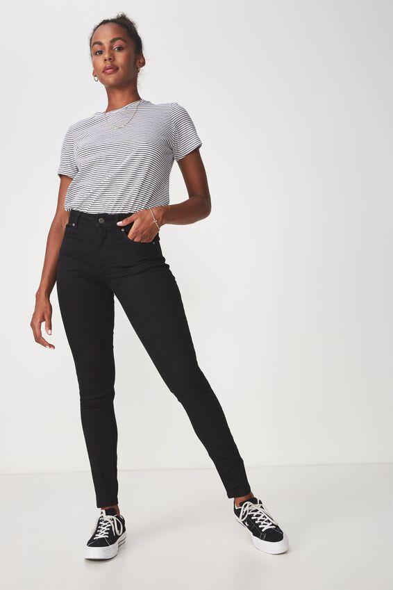 The Skinny Mid Rise Jean, BLACK
