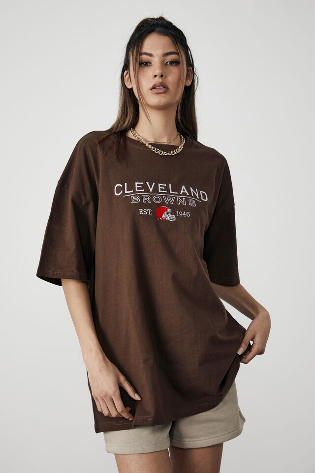 Lcn Oversized Nfl Graphic Tee, LCN NFL CHOCOLATE/CLEVELAND BROWNS