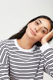 Long Sleeve Graphic T Shirt, TRINITY STRIPE_WHITE BLACK