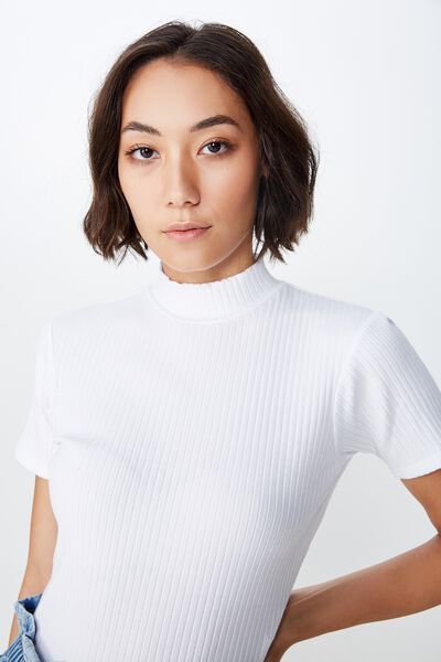 Short Sleeve Rib Funnel Neck T Shirt, WHITE