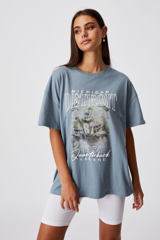Super Relaxed Graphic Tee, PETROL BLUE/DETROIT FOOTBALL