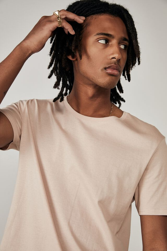 Curved T Shirt, DIRTY PINK