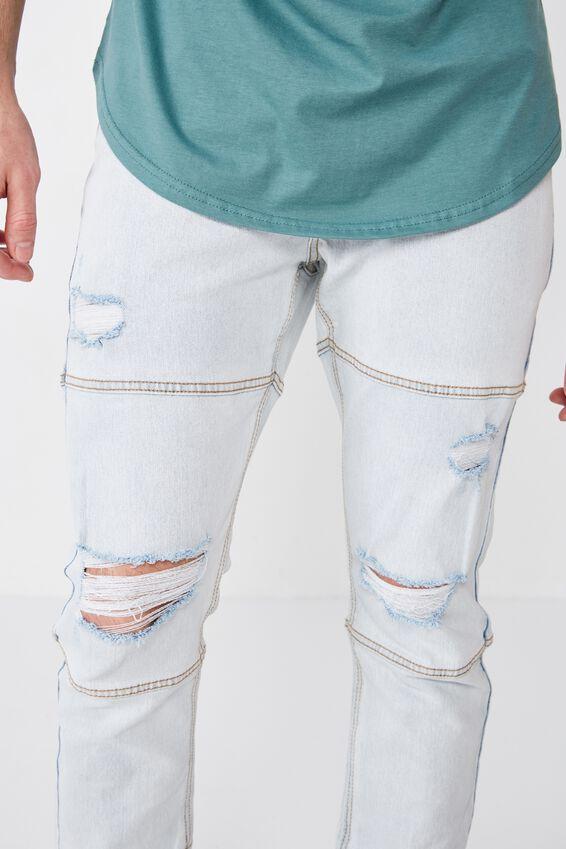 Skinny Leg Ankle Zip Jean, ICE BLUE