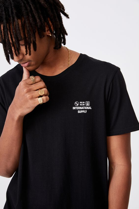 Curved Graphic T Shirt, BLACK/SUPPLY