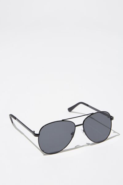 Metal Aviator Sunglasses, S BLK_SMK