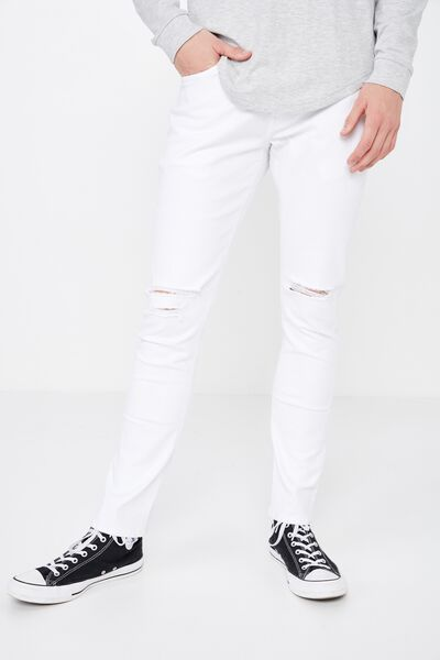 Skinny Leg Denim Jean, WHITE