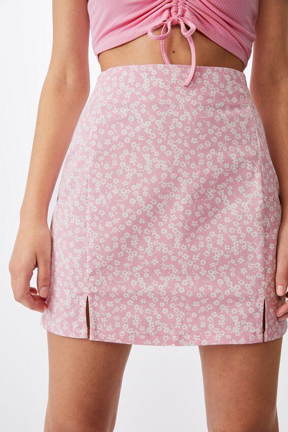 Double Split Mini Skirt, BABE PINK KITA FLORAL
