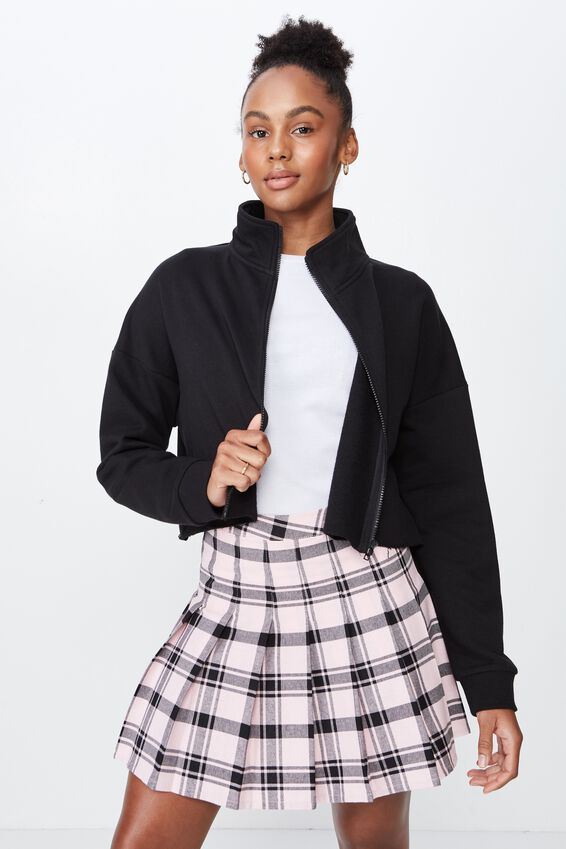 Boxy Zip Thru Jacket, BLACK