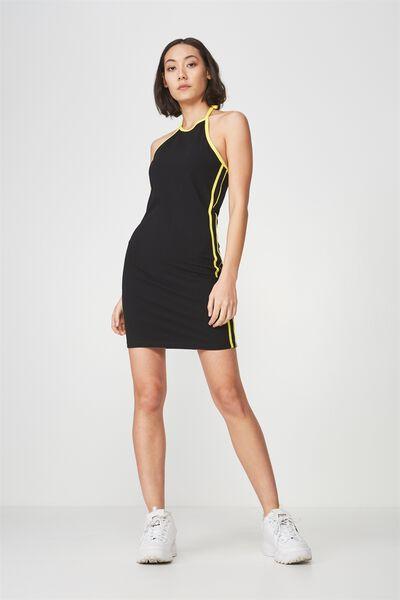 Cut Away Mini Dress, BLACK_YELLOW TAPE