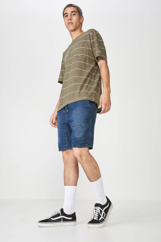 Knit Denim Walk Short, INDIGO