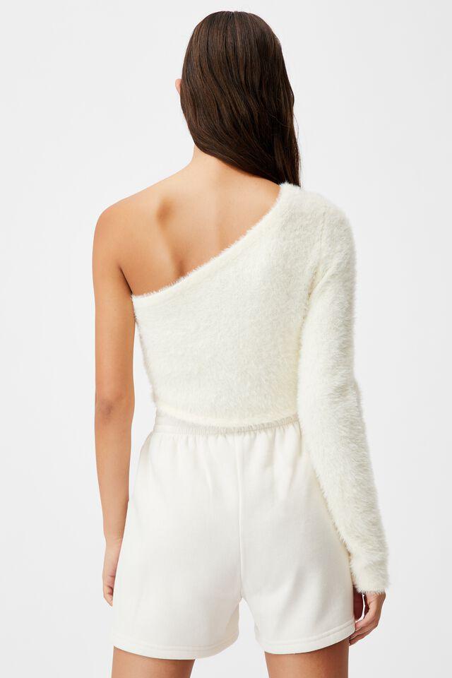 Fluffy Knit One Shoulder Top, IVORY