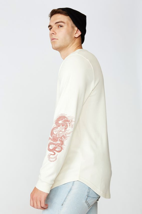 Curved Long Sleeve Graphic T Shirt, IVORY/DRAGON FORCE