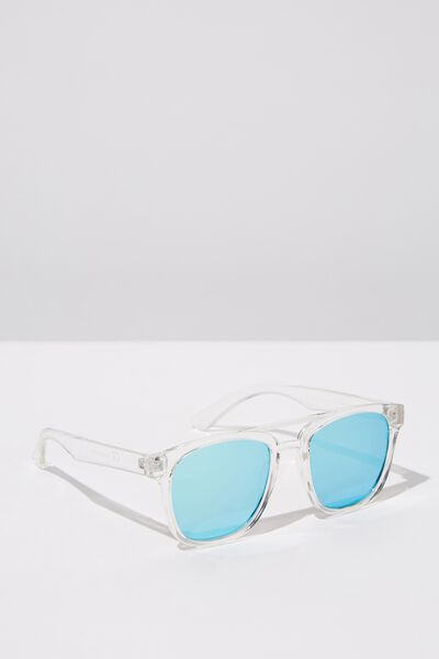 Preppy Topbar Sunglasses, CLEAR_BLU REVO