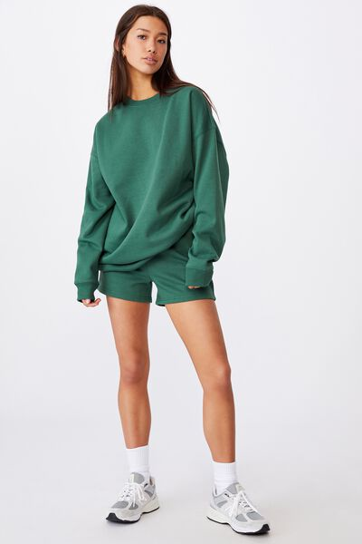 Oversized Crew Neck Sweater, HUNTER GREEN