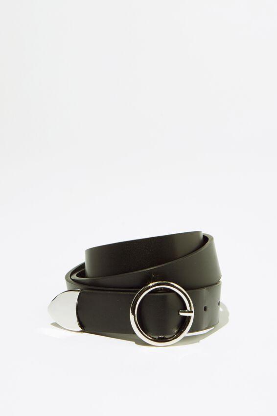 Round Buckle Belt, BLK_ROUND SIL