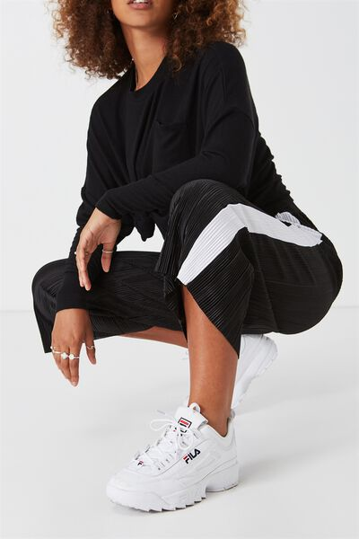 Sport Palazzo Pant, BLACK WITH WHITE STRIPE