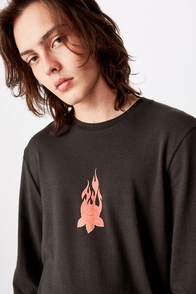 Slim Long Sleeve Graphic T Shirt, PIRATE BLACK/FLAMES