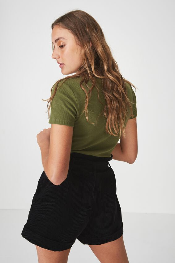 Short Sleeve Rib Henley, WINTER MOSS