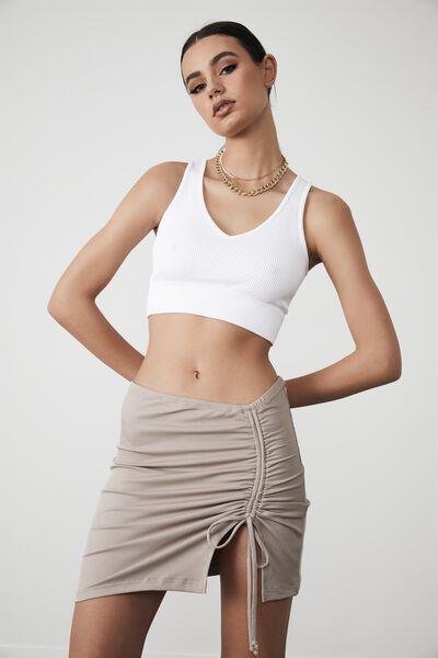 Ruched Side Split Skirt, ETHEREA