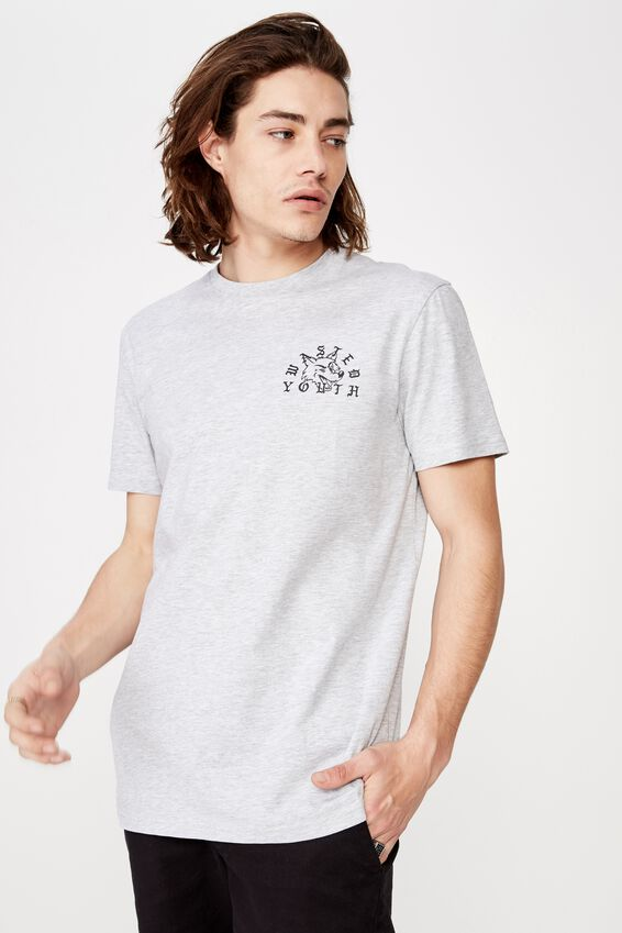 Slim Graphic T Shirt., LIGHT GREY MARLE/WASTED