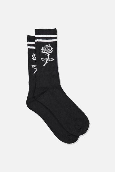 Retro Ribbed Socks, BLK ROSE STRIPE_BLK