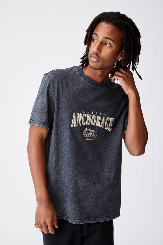 Regular Graphic T Shirt, WASHED BLACK /ANCHORAGE