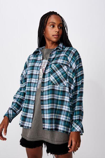 Oversized Check Shirt, SEA GREEN CHECK
