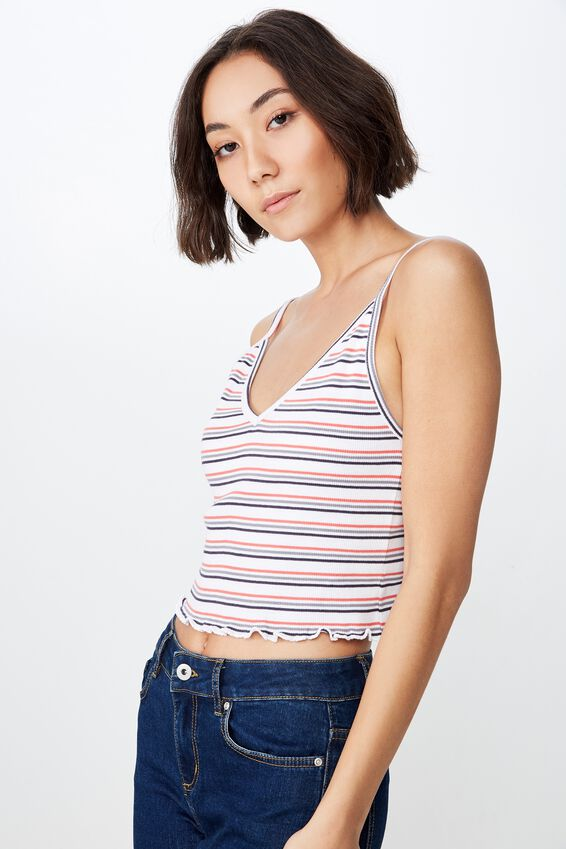 V Neck Rib Lettuce Edge Tank Stripe, CHARLTON STRIPE_PRIMARY