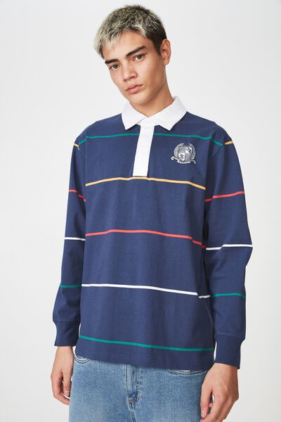 Rugby Top, WASHED NAVY/MULTI STRIPE