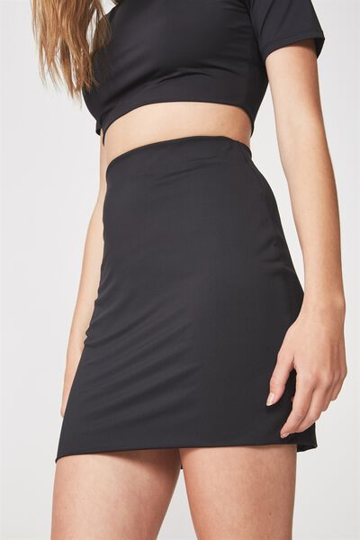Co Ord Stretch Mini Skirt, BLACK