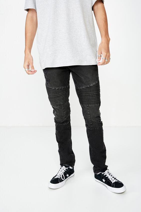 Skinny Leg Moto Denim Jean, WASHED BLACK