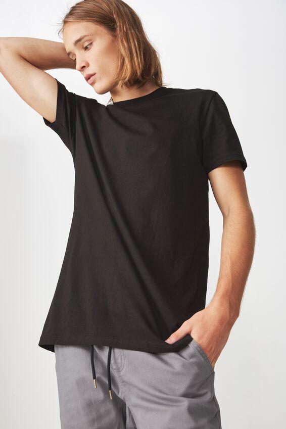 Longline T Shirt, BLACK