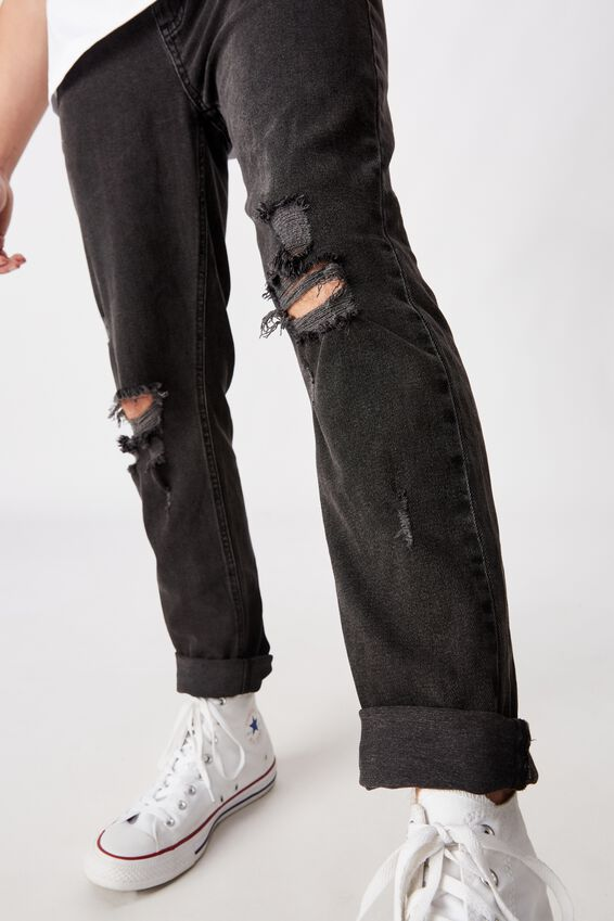 Relaxed Tapered Jean, WASHED BLACK