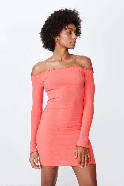 Rib Off Shoulder Dress, MELON PEACH