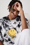 Oversized Smiley T Shirt, LCN SMI BLACK WHITE TIE DYE/SMILEY DRIP