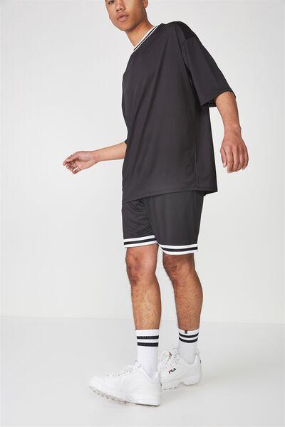Tape Trim Shorts, BLACK