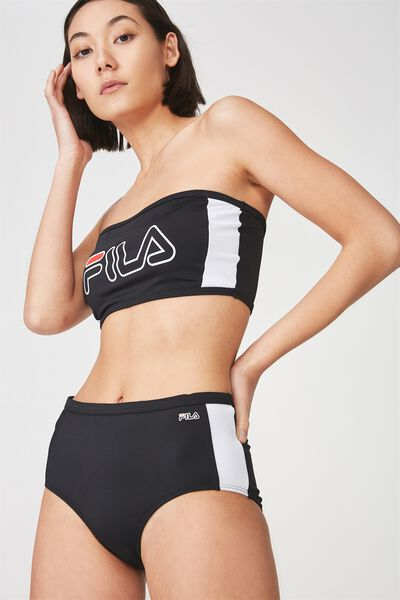 Fila Lcn Outline Side Panel Bandeau Bikini Top, BLACK