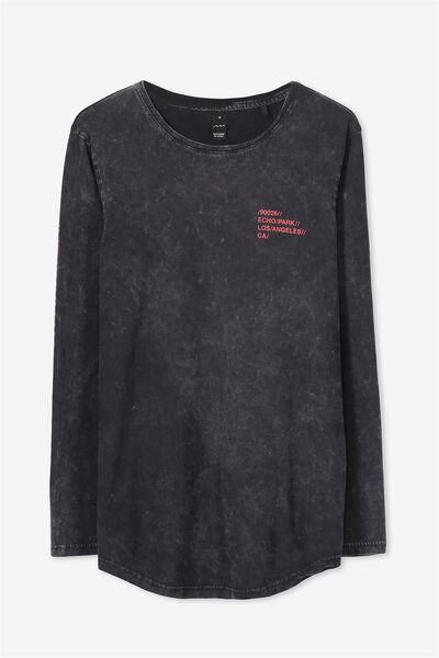L/S Curved Shaded Tee, BLACK WASH/ECHO PARK